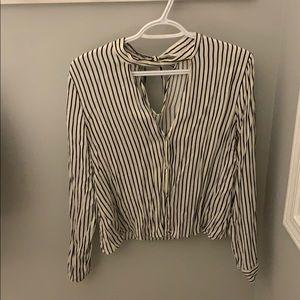 Zara stripped Blouse with tie back, Size L